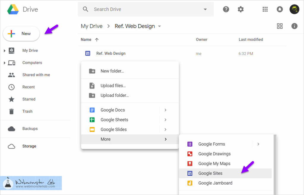 Google Drive - Create Google Sites