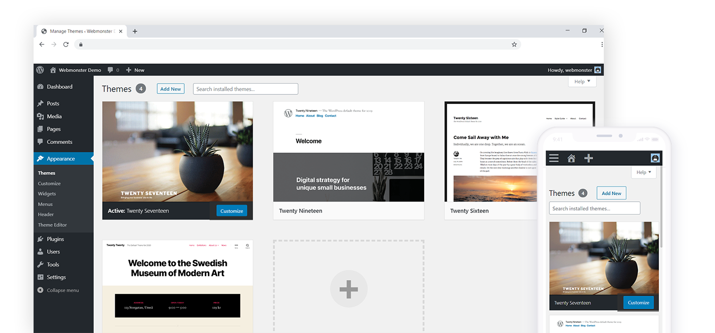 หลังบ้าน WordPress - จัดการ Themes